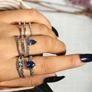 Blue Heart Boho Midi Ring Set!  New!